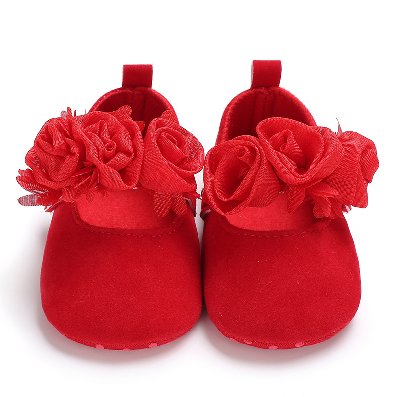 New Rose Flower Pink Princess Newborn Baby Girl Shoes First Walkers Soft Cotton Anti Slip Toddler Shoes Solid Color Infant Shoes 6