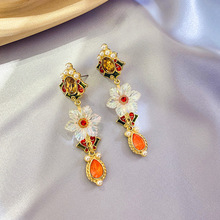 Renaissance Romantic Flower Baroque Wind Colorful Crystal Earrings Exaggerate Retro Girl statement earrings  tassel