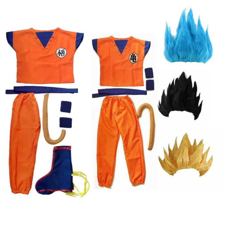 Adulte enfant enfants Z Son Goku Cosplay Costume Costume robe d'halloween perruque