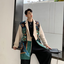 The latest design reversible mens blazer jacket oversize men club suits flower singer outfit designer jacket llong cloak(China)