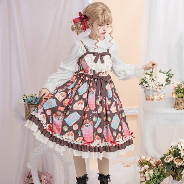 Фото японское платье лолиты винтажное кружевное с бантом милое принтом