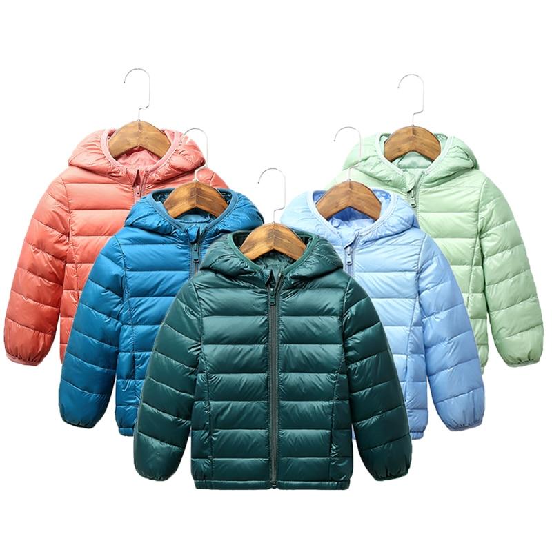 2021 Children winter jacket Ultra light down Baby Girls Jackets Kids Hooded Outerwear Coat boys snowsuit Children Clothing 2-8 y 1