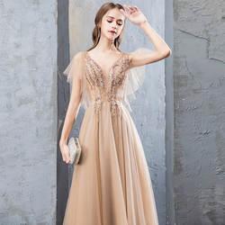 Новое шампанское v-образным вырезом бисерная шнуровка халат De Soiree Тюль спинки Длинные свадебные платья 2019 Свадебные праздничные платья