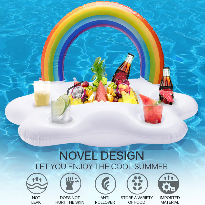 Rainbow Cloud Cup Holder Inflatable Pool Float Table Bar Tray Swimming Ring Y
