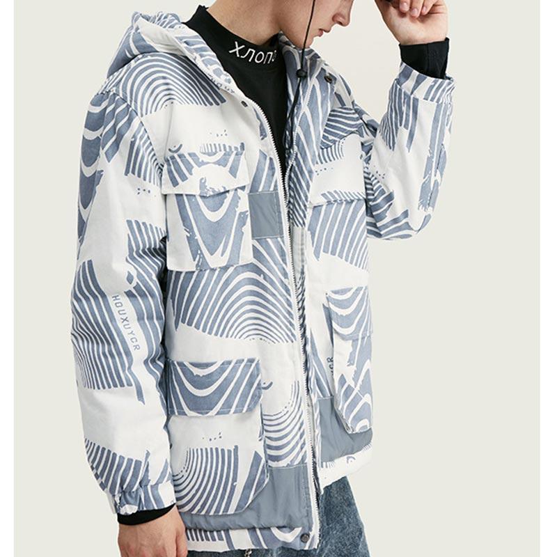 Men's Hooded Cotton Jacket Camouflage Multi-pocket Reflective Stitching Mens Streetwear Jackets Coats Ropa De Hombre 2019