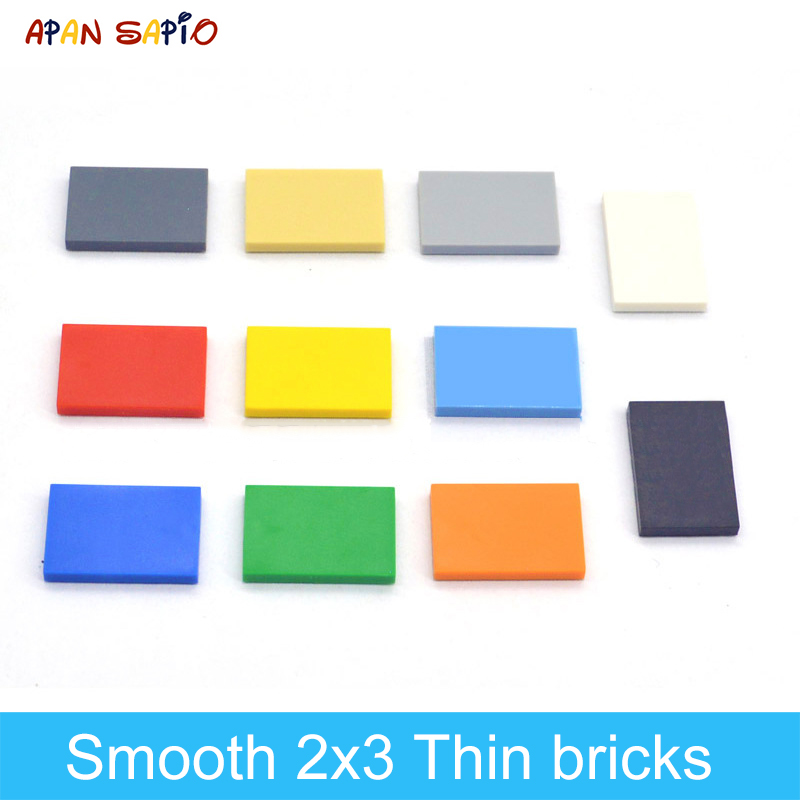 100PCS DIY Building Blocks Thin Figure Bricks Smooth 2x3Dots Educational Creative Size Compatible With Lego Toys For Children