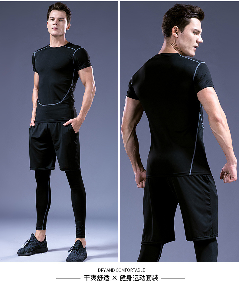 Foto of 2 man from the front and back 5 pcs compressions clothes for gym. Men's 5 pcs compression tracksuit sports black color