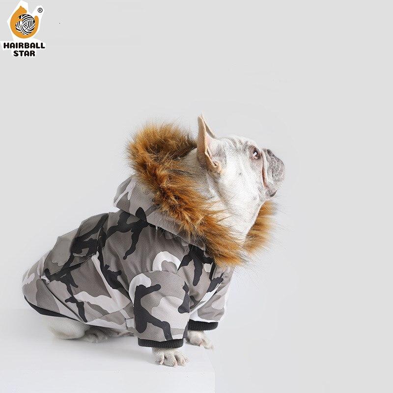 Зимние теплые с рисунком собачки и котика куртка на пуху, одежда для собак, легкий пуховик на утином пуху с воротником с капюшоном французского для бульдога Чихуахуа собаки пальто лыжный костюм-0
