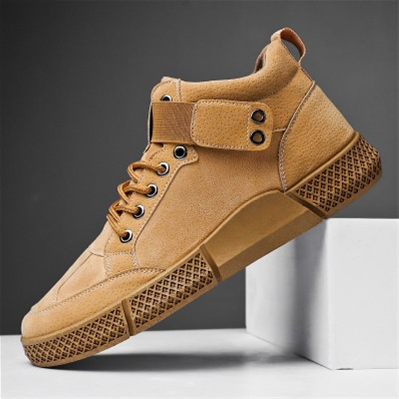 US $16.42 42% OFF|New Fashion Men Lace Up High Top Sneakers Leather Casual Flat Shoes Lightweight Walking Male Training Tenis Feminino Footwear in