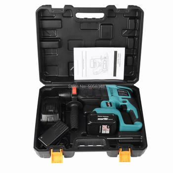 rechargeable brushless cordless rotary hammer drill electric Hammer impact drill with two 18 Volt. 4.0Ah battery 5000 10000mah long duration hammer cordless drill rechargeable lithium battery multifunctional electric hammer impact drill