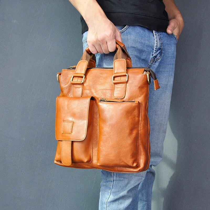 """H78186479abe54a90a184659cbf533b2c6 Men Original Leather Retro Designer Business Briefcase Casual 12"""" Laptop Travel Bag Tote Attache Messenger Bag Portfolio B259"""