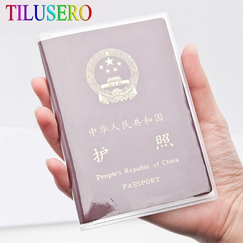 1pcs Waterproof Transparent Passport Holder Card Holder PVC Waterproof Travel Passport Cover Credit Card Holder Aluminium