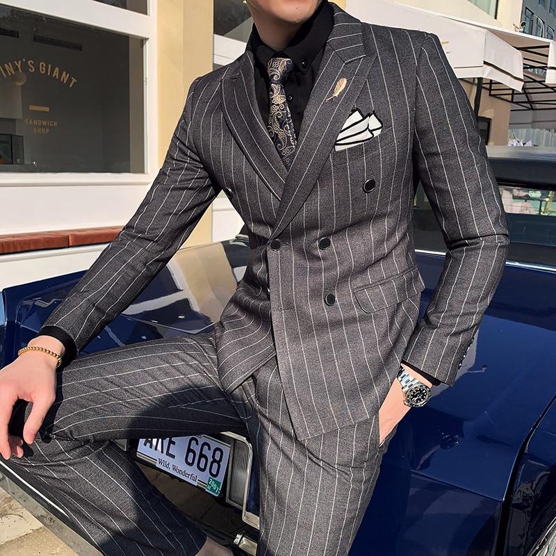 Wedding Suit Club Homme Luxury Striped Mens Suit Mens Quality Social Business Tuxedo Slim 2pcs Costume Mens British Casual