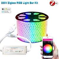 220V 230V Zigbee Smart vida Tuya controlador 1-15m RGB LED 5050SMD luces de tira de LED Dimmer impermeable al aire libre fr Hu * e Smartthings