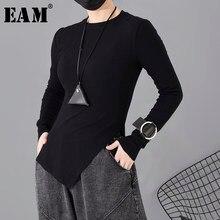 [EAM] T-shirt temperamento orlo asimmetrico nero da donna nuovo girocollo manica lunga moda marea primavera autunno 2021 1H31201