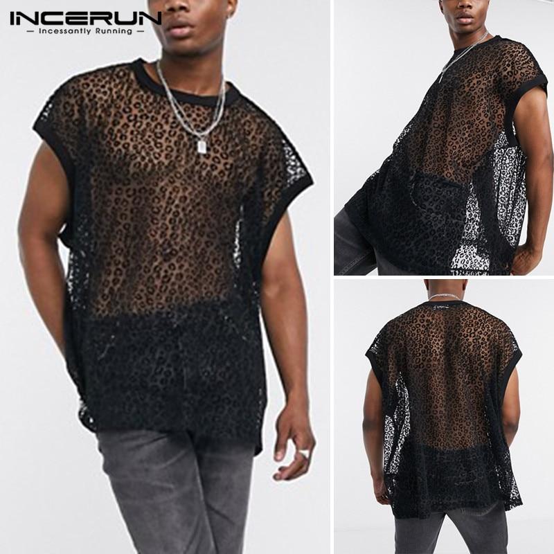 Fashion Short Sleeve O Neck Tees INCERUN Men Mesh T Shirts Punk Style Man Transparent Leopard Printed T-Shirts Streetwear S-5XL