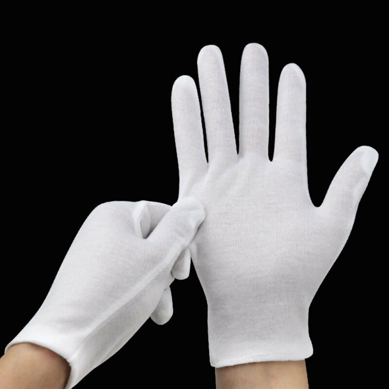 6 Pairs White Cotton Gloves Coin Jewelry Silver Inspection Gloves Size S-XL