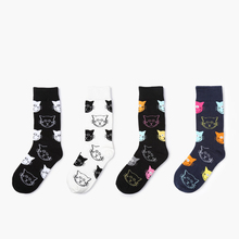 Autumn and Winter New Wave Cute Cat Series Popular Fashion Long Cotton Socks Fun Cartoon Ladies