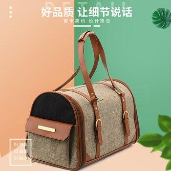 Portable Pet Leather Messenger Bag Cat Bag Cat Dog Carrier Bag Pet Backpack Cat Carrier Travel Teddy Bag Breathable Pet Handbag