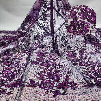 Multicolor Sequin Lace Fabric 2020 African Lace fabric with Sequins High Quality Purple Sequin Fabric for dresses K-L1110B