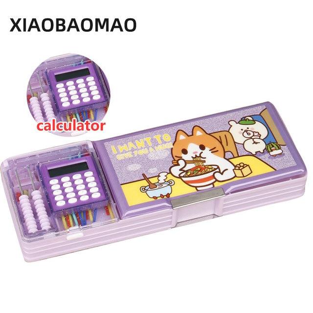 Aperto del doppio dei bambini multi funzione di stile del fumetto contenitore di matita con la calcolatrice + calcolare perline cassa di matita della cancelleria regalo