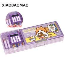 Double ouvert enfants multi fonction dessin animé style boîte à crayons avec calculatrice + calculer perles porte crayon papeterie cadeau