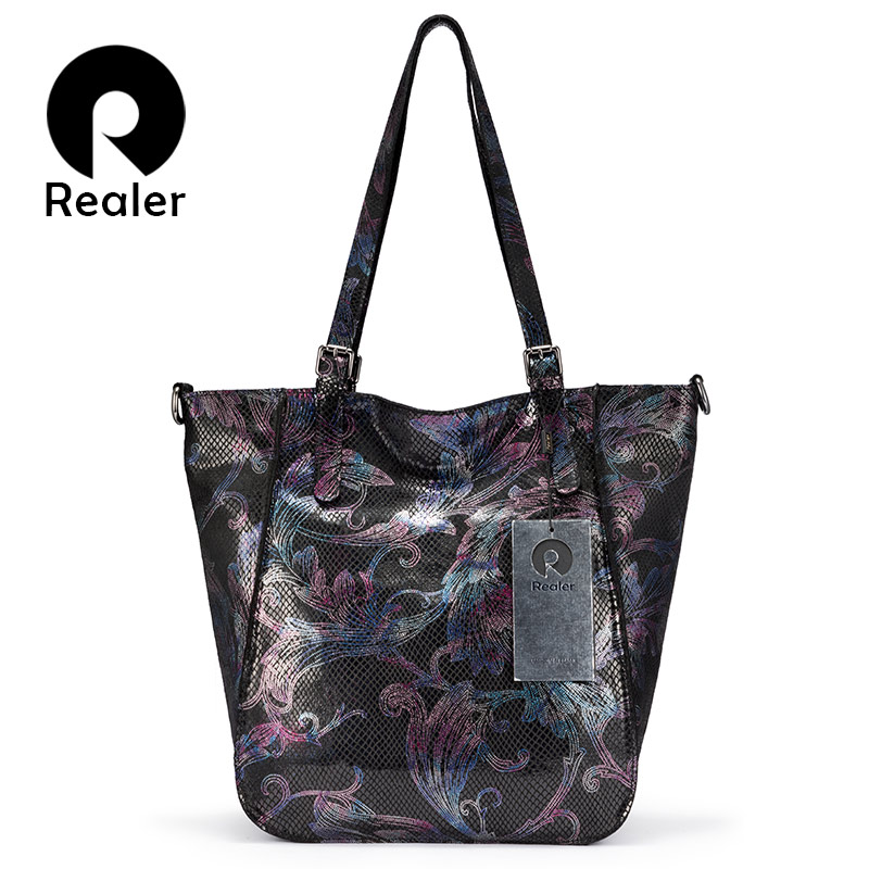 REALER Shoulder Bags For Women 2019 Genuine Leather Luxury Handbag Designer Large Hobos Bag With Tassel Animal Prints Women Bags