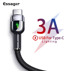 Essager LED USB Type C Cable For Samsung S20 S10 Xiaomi mi Fast Charging Wire Cord USB-C Charger Mobile Phone USBC Type-c Cable