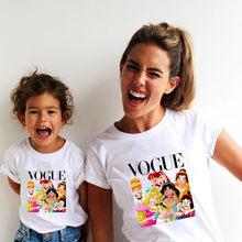Camiseta e camiseta da moda para a família, mãe e filha, combinando com a família, roupas punk vogue, princesa