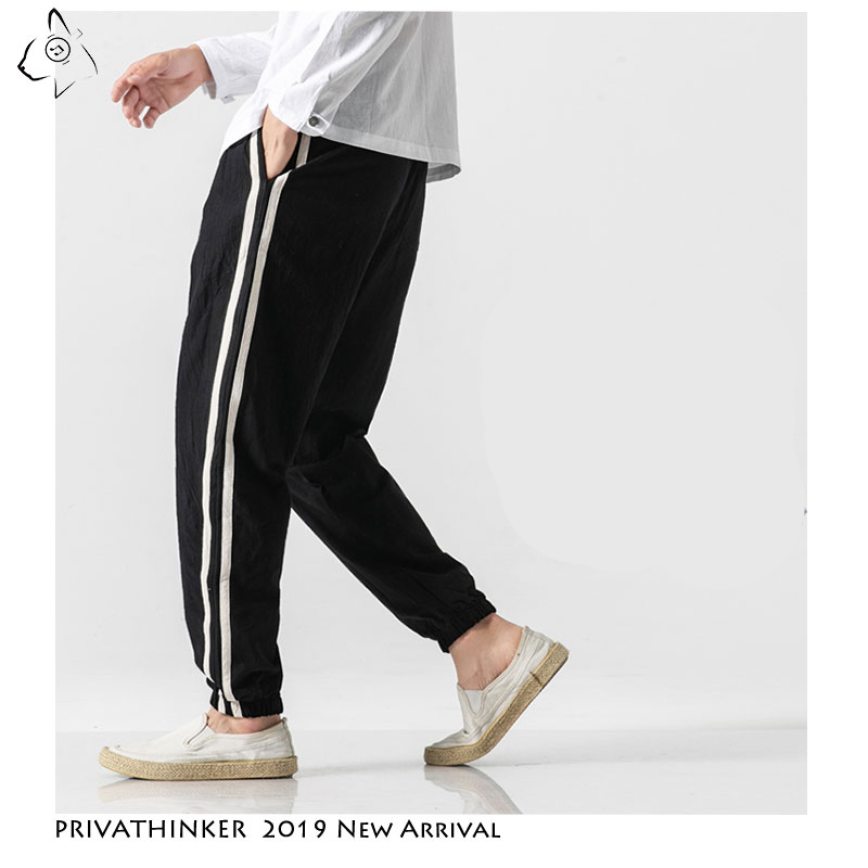 Image 3 - Privathinker Cotton Linen Casual Men Trousers Fashion Side Striped Man Sweatpants 2019 Autumn Chinese Style Male Harem Pants-in Harem Pants from Men's Clothing