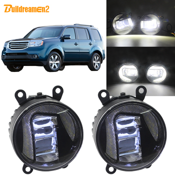 Buildreamen2 For Honda Pilot 3.5L V6 2012 2013 2014 2015 Car H11 LED Projector Fog Light + Daytime Running Lamp White 90mm 12V