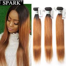 Spark Hair Human Hair Peruvian Straight Human Hair Weave Bundles 3/4 PCS  T1B/30 Ombre Color Blonde Remy Human Hair Extensions