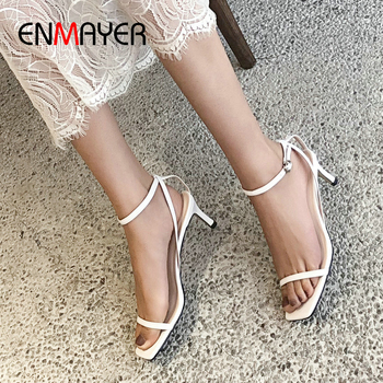 ENMAYER Basic Genuine Leather Party Women Sandals Buckle Strap Synthetic Thin Heels Fashion Shoes Woman Elegant High Heels 34-41