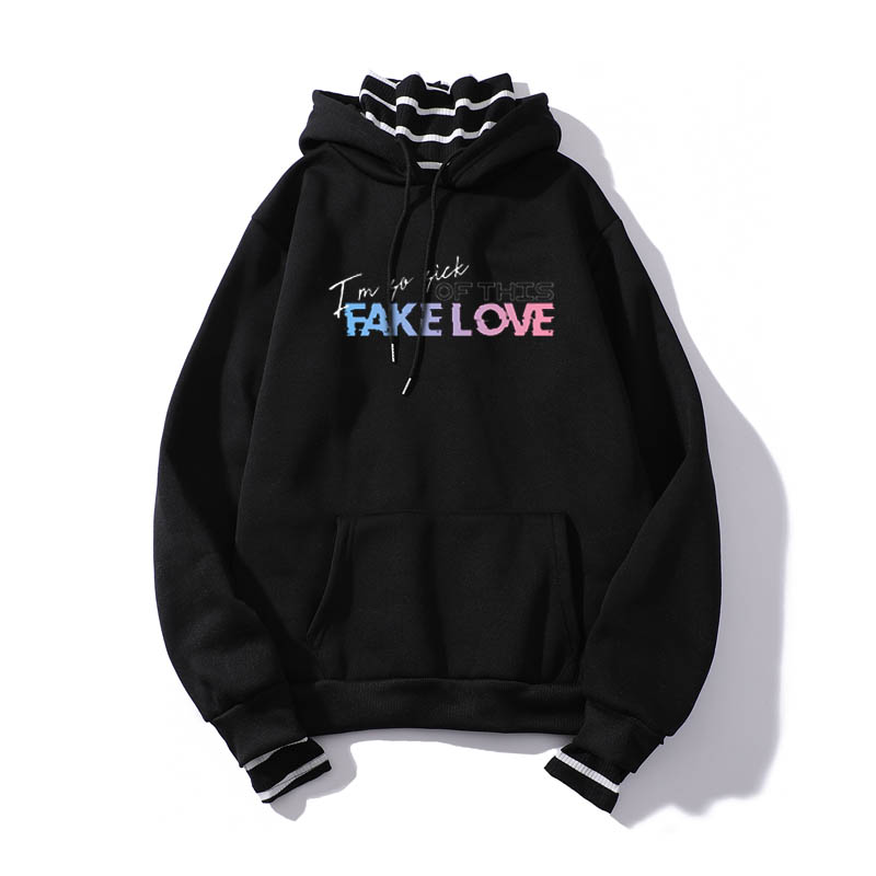 100% Brand New Fake Two Hoodies Pullovers Fake Love Harajuku Hipster Female Hoodie Sweatshirt  Pullover Tops