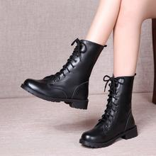SWONCO 42 Black Shoes Women Martin Boots Laides New 2019 Women Ankle Boots Autumn Casual Shoes Women PU Leather Boot Bota Women(China)
