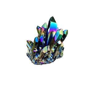 Natural Quartz Crystal Rainbow Titanium Cluster Rare Decoration Craft Reiki Stone Healing X3C0 Specimen Mineral X1R0