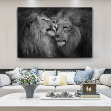 Afican Wild Lions Head to Head Canvas Art Posters And Prints Black And White Ainimals Canvas Paintings On the Wall Art Pictures футболка black the head black head black
