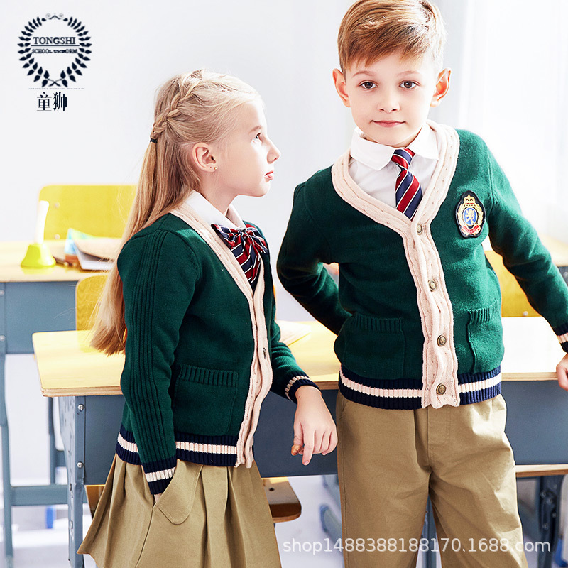 Clothes Kindergarten British Style Sweater Set Young STUDENT'S School Uniform Spring And Autumn Set Men And Women Children Stude