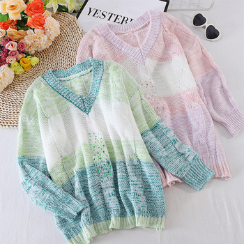 Sequins Sweater Women Colorful Striped Patchwork Knitted Pullovers And Sweaters 2020 Autumn Winter V Neck Womens Tops