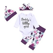 Little Baby Girl Suits 4PCS Newborn Infant Girls Clothes Playsuit Romper Pants Outfit Set Floral Print Outfits