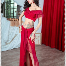 Clothing Belly-Dance-Costume-Set Top-Skirts Performance Practice Professional Oriental