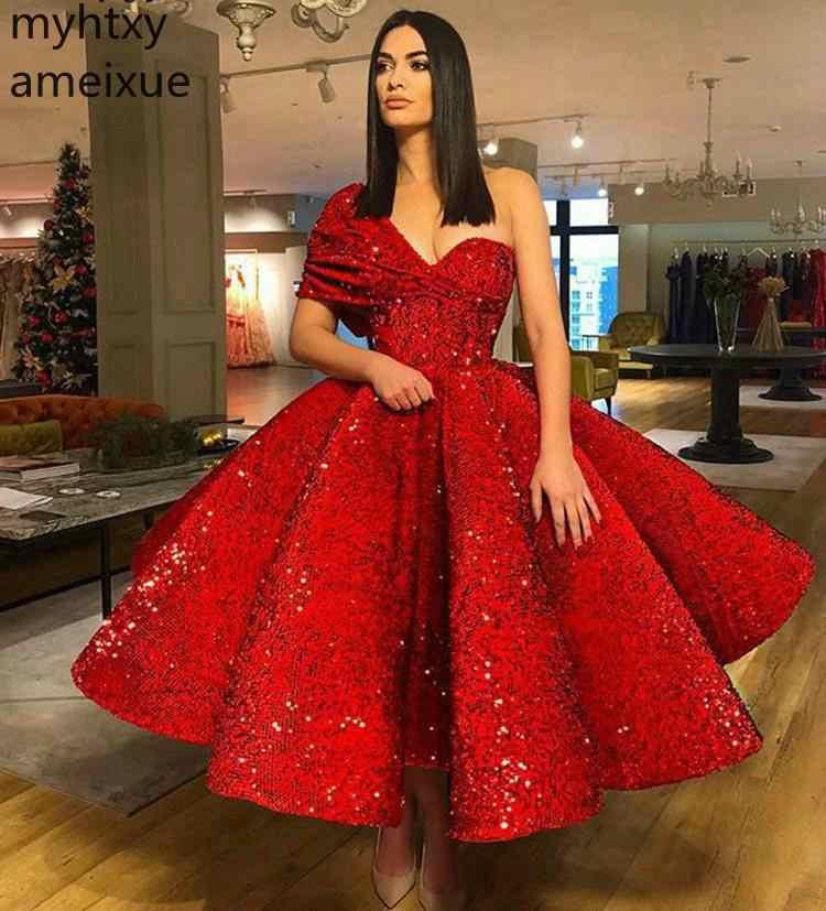 2019 seksi kırmızı balo olay elbise bir omuz Sequins Pageant tatil giyim mezuniyet akşam parti kıyafeti Custom Made artı boyutu