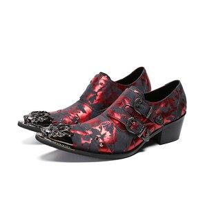 Image 1 - Мужские кожаные туфли на высоком каблуке Christia Bella, красные вечерние туфли оксфорды с металлическим острым носком, на ремешке с пряжкой, для выпускного вечера