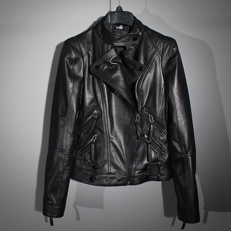 Free Shipping.wholesales.cheap Slim Women Genuine Leather Jacket,girl Black Soft Sheepskin Coat.motor Style.fashion