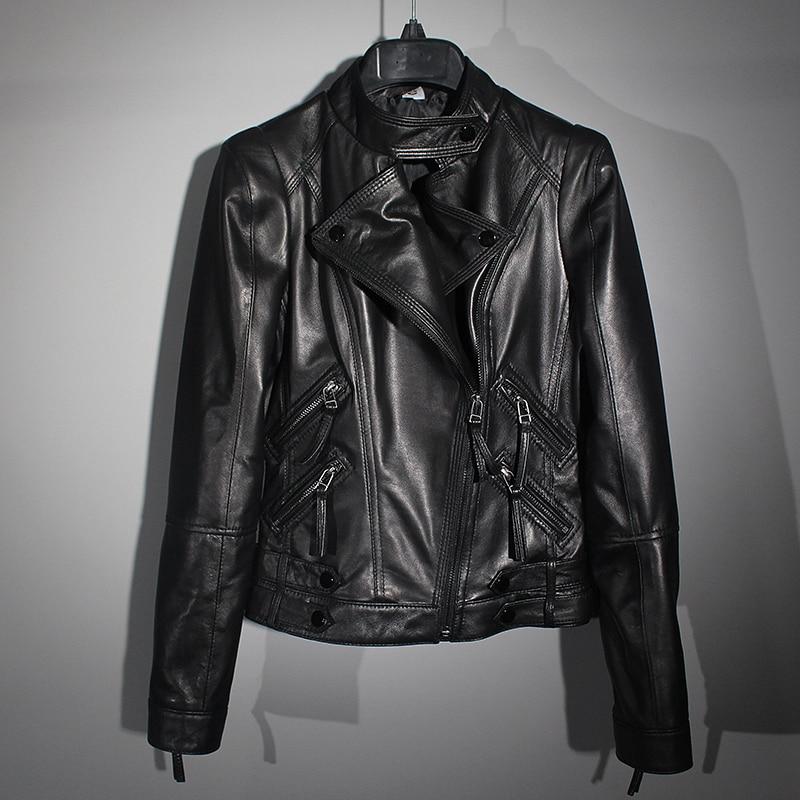 Free Shipping.wholesales.cheap Slim Women Genuine Leather Jacket,girl Black Soft Sheepskin Coat.motor Style.fashion
