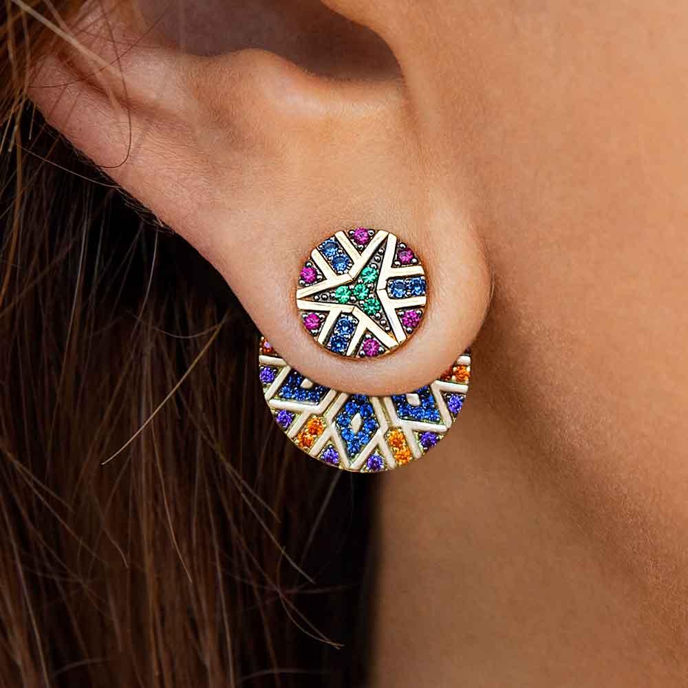 Itenice India Tribal Round Earrings Women Asymmetric Gold Yellow Ethnic Crystal Earring Colorful Bohemia Rhinestone Earring New