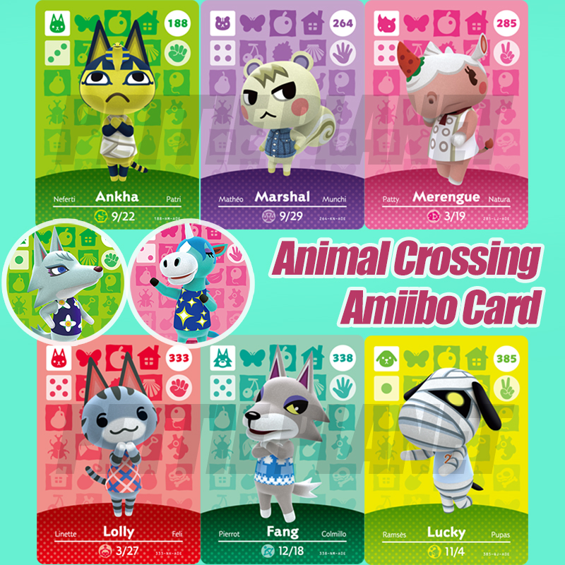 Animal Crossing New Horizons Game Amiibo Card For NS Switch 3DS Game Lobo Card Set NFC Cards Hot Villager Marshal Ankha