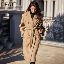 Coats Cashmere Wool Elegant Winter Double-Button Autumn Women's Lapel DEAT AR914 Lacing
