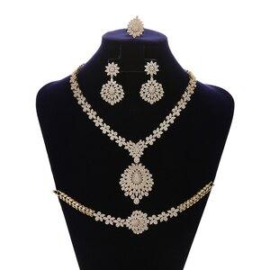 Image 2 - Jewelry Set HADIYANA Vintage Graceful Wedding Bridal Necklace Earrings Ring And Bracelet Set CN1192 Parure Bijoux Femme Mariage