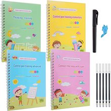 New Magic Writing 4 Books + Pen Reusable 3D Magic Exercise Book Children Reusable English Numbers Letters Montessori Toys